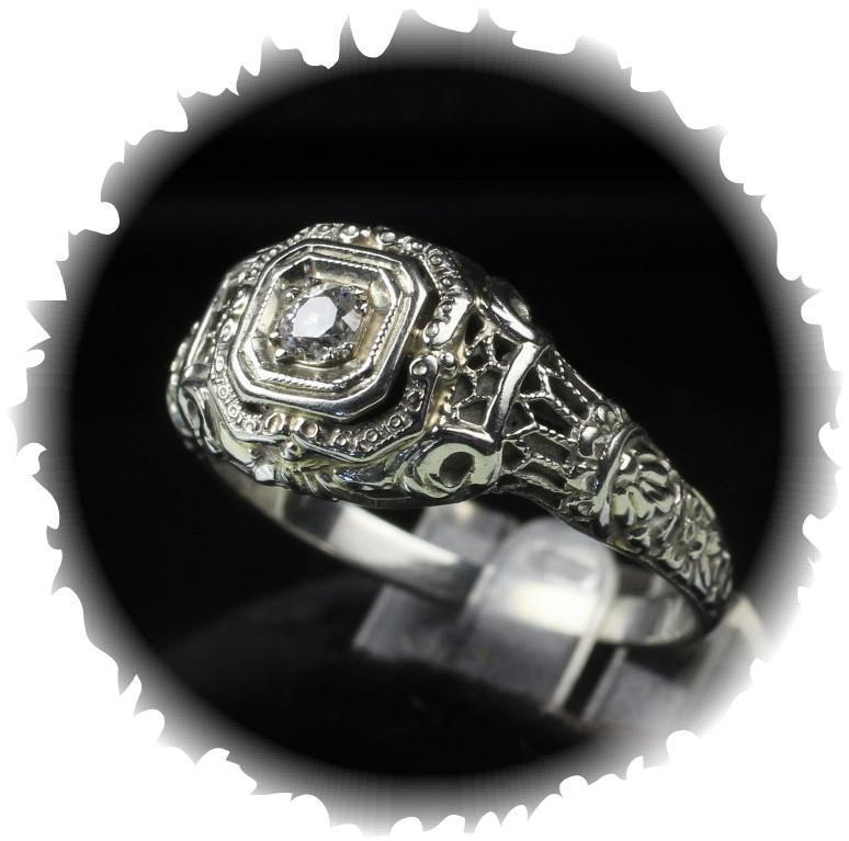 18K White Gold Vintage Filigree Euro Cut Diamond Ring