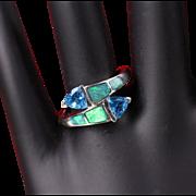 14K White Gold Opal & Blue Topaz Ring