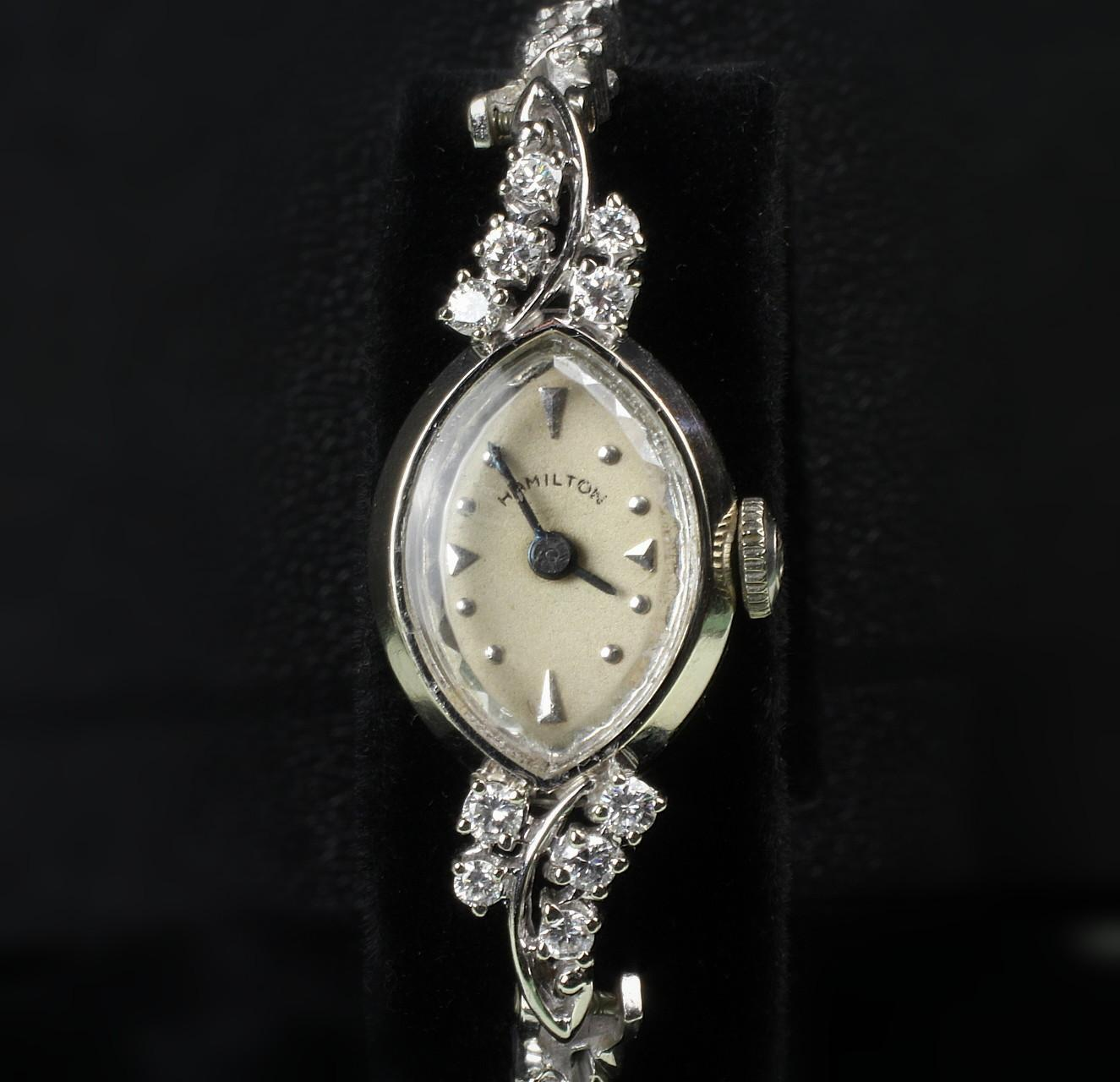 14K White Gold Ladies Hamilton Diamond Wrist Watch with 1.25 Ct. TW