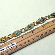 Antique Hand Made 18K Pearl and Emerald Bracelet