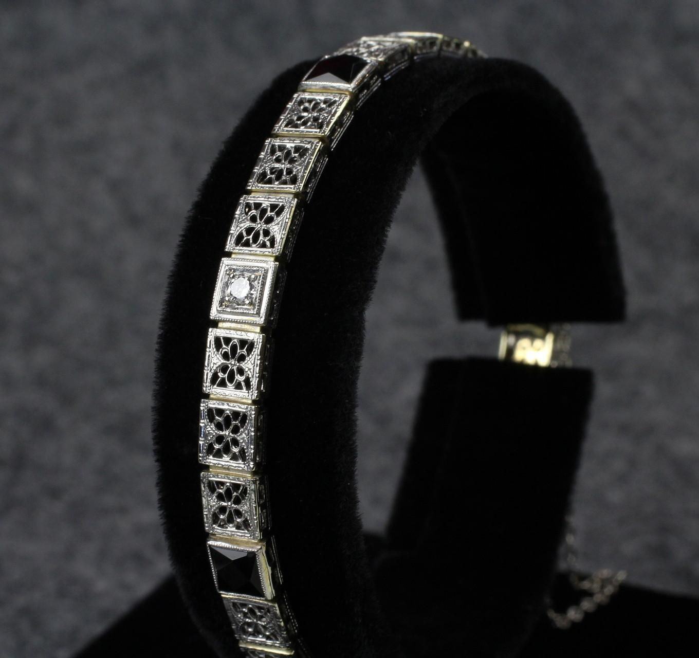 Vintage 14K White Gold Filigree Bracelet with Diamonds & Onyx