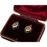 Antique 18K Yellow Gold Earring with 18 Euro Cut Diamonds - 0.40 Ct. TW