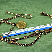 Large Antique 14K Unusual Equestrian / Horse Theme Pocket Watch Chain