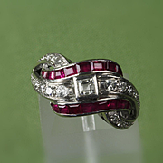 Palladium Diamond & Ruby Ring - 0.40 Ct. TW