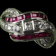 Palladium Diamond & Ruby Ring - 0.40 Ct. TW