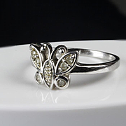10K White Gold Butterfly Diamond Ring