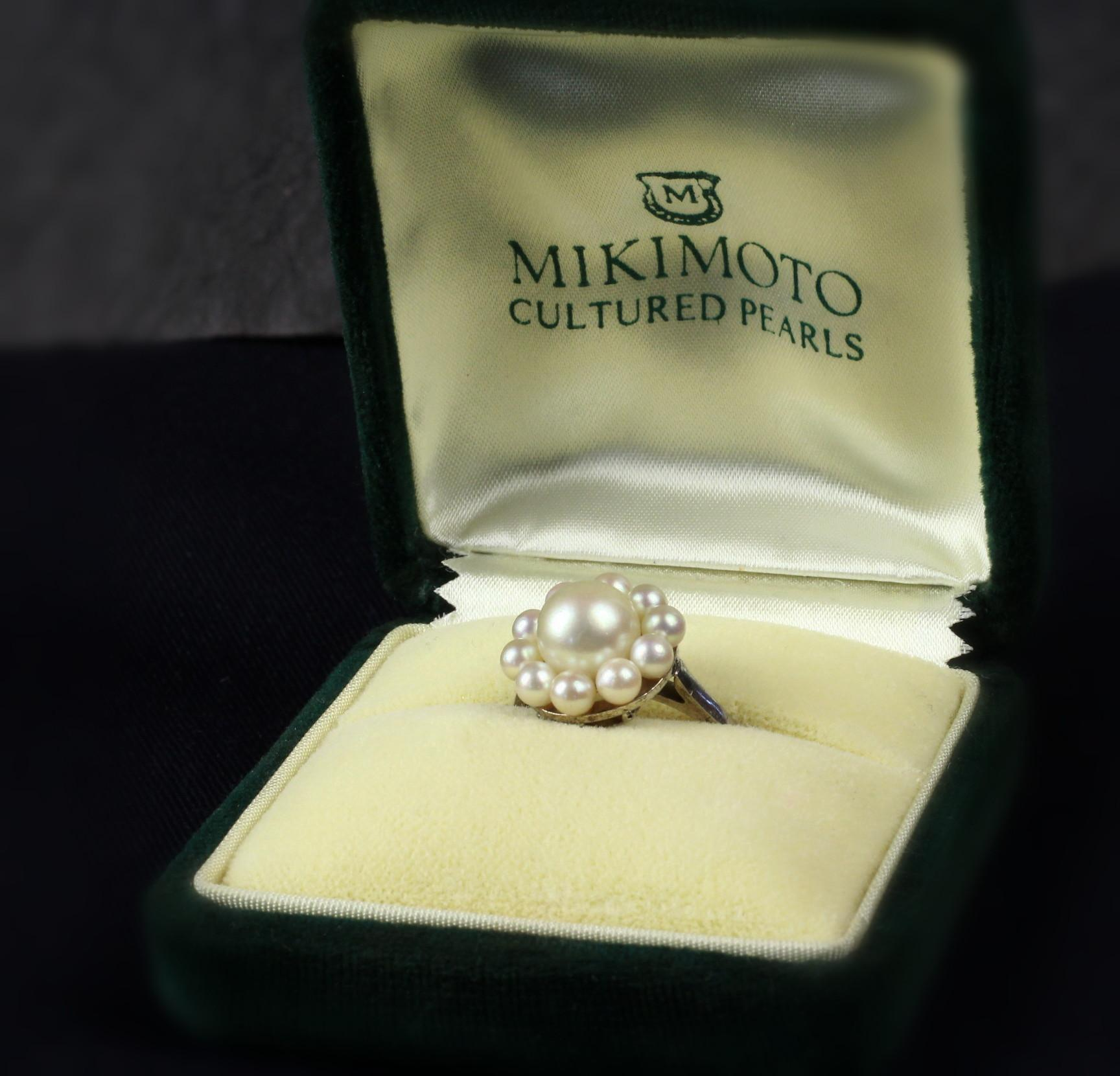 Early Mikimoto Sterling Eleven Pearl Ring