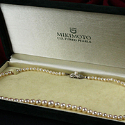 "18"" Mikimoto 81 Graduated Pearl Necklace in Original Box"