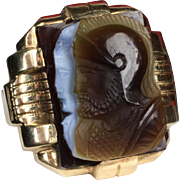 "Gent's Deco 10K ""Warrior"" Cameo Ring"