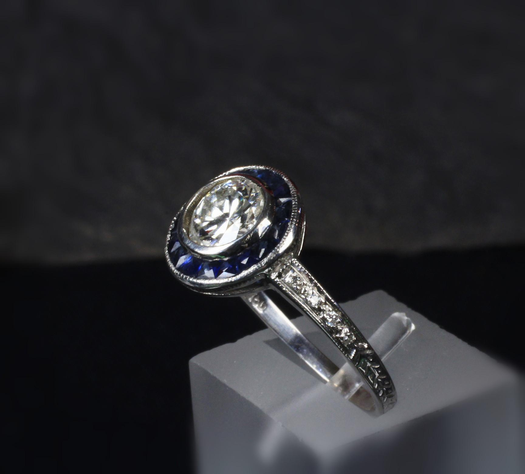 Antique 18K White Gold 0.80 Ct. Euro Cut Diamond and Sapphire Ring
