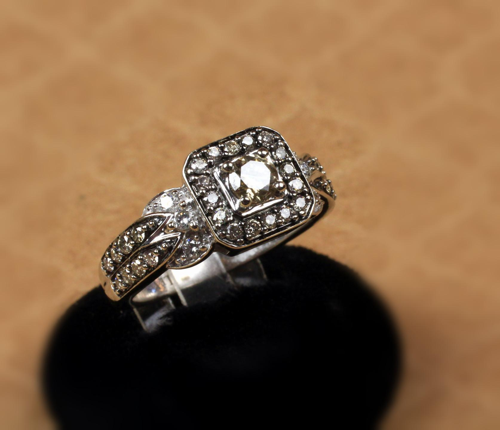 14K White Gold Chocolate & White Diamond Levian Ring