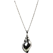 """Large Sterling Seashell with Sterling 20"""" Rope Chain"""