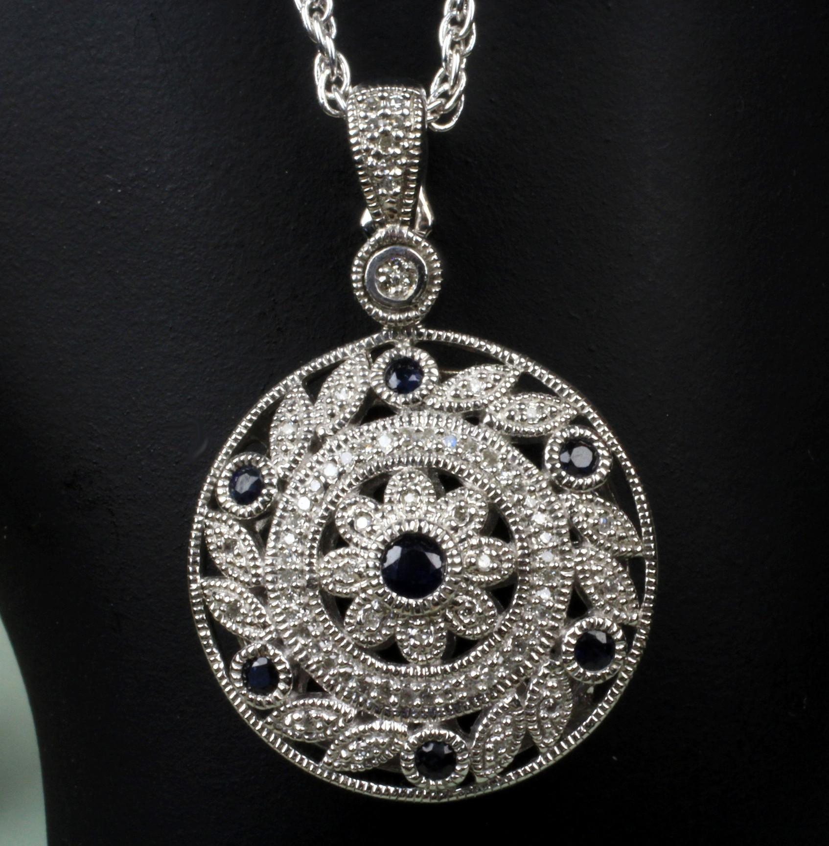 "Sterling Silver CZ Pendant and 20"" Chain"