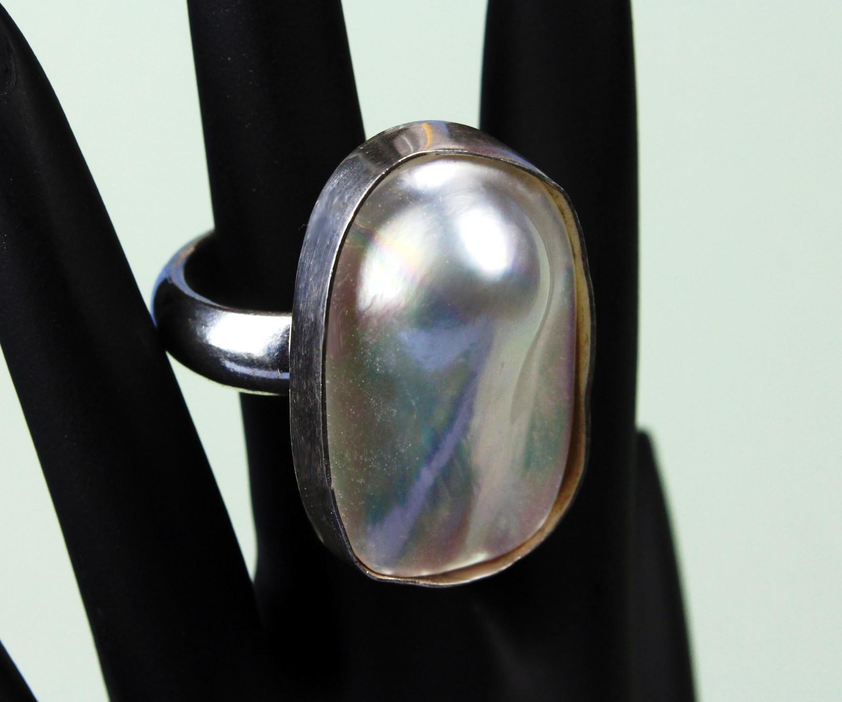 "Sterling Silver ""Blister Pearl"" Ring"