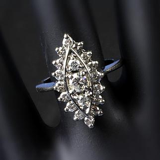 Ladies 14K White Gold 1.0 Ct. Cluster Diamond Ring
