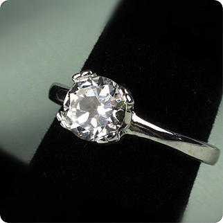 Ladies 18K White Gold White Topaz Ring