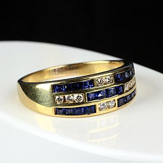 18K Yellow Gold Diamond and Sapphire Band