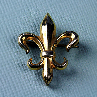 12K Gold Filled Fleur de Lis Watch Holder Pin