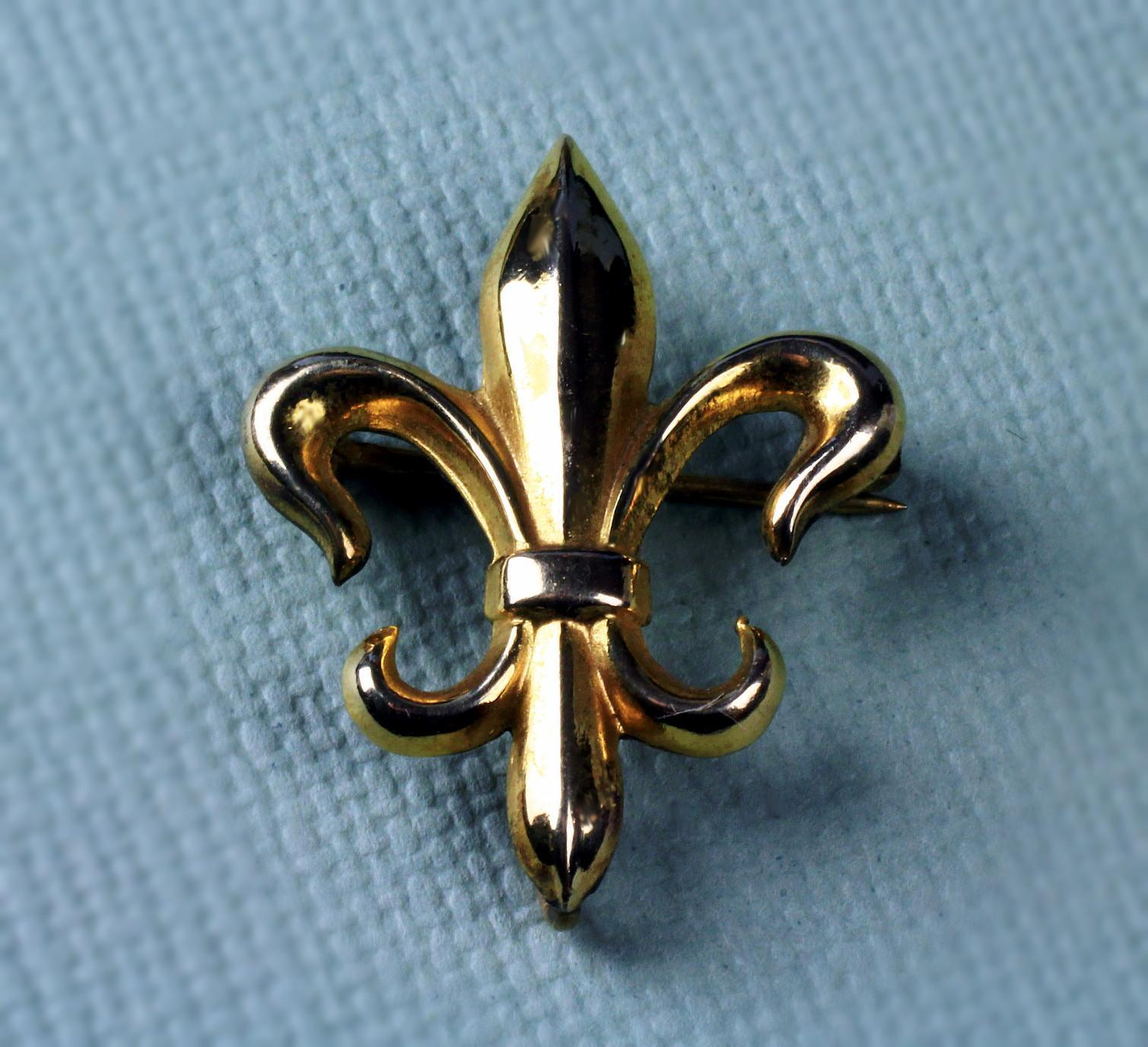 12K Gold Filled Fleur de Lis Watch Holder Pin