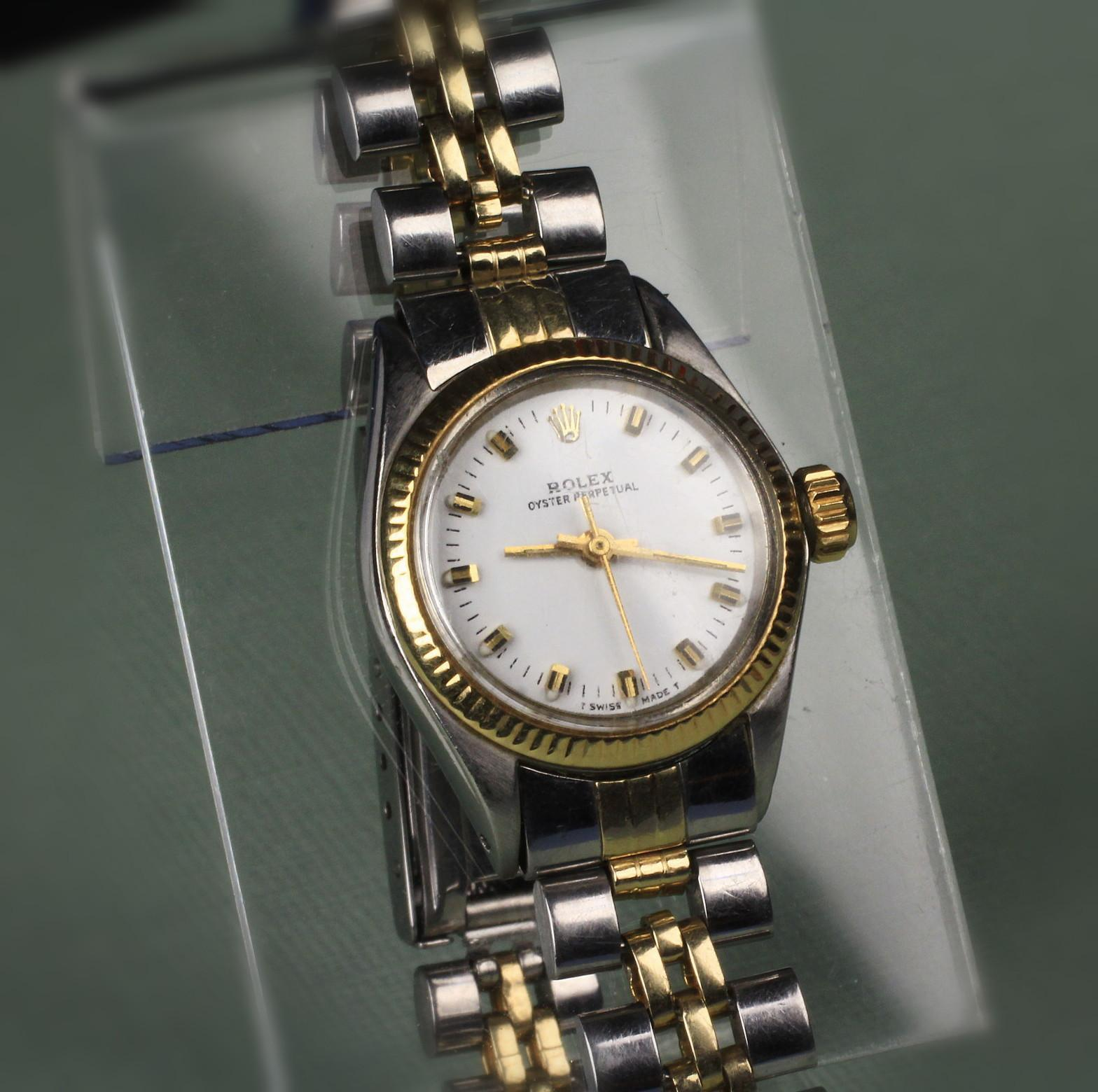 Ladies 14K Gold & Stainless Steel Oyster Perpetual Rolex Wrist Watch -- ****On Lay a Way****