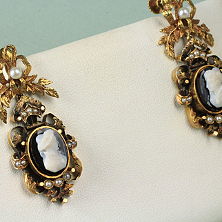 14K Hand Made Victorian Stone Cameo and Pearl Earrings