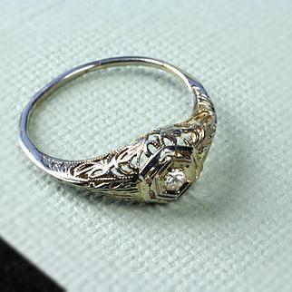 Ladies 14K White Gold Antique Diamond Filigree Ring