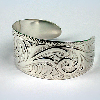 Sterling Silver Highly Decorated Cuff Bracelet