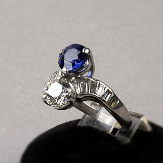 Vintage Ladies Platinum Euro Diamond and Sapphire Cocktail Ring