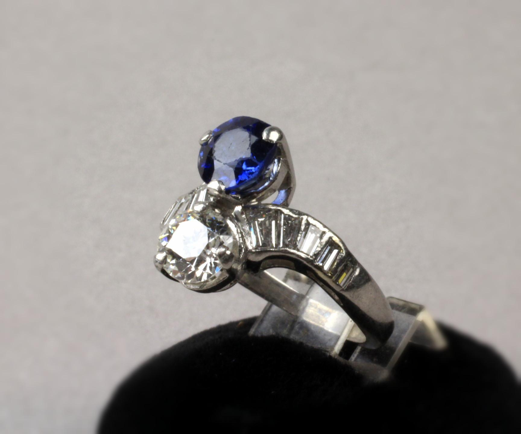 Vintage Ladies Platinum Euro Diamond and Sapphire Cocktail Ring