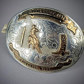 """Large Comstock Silversmiths Sterling Silver Rodeo  """"State Champ, 1979""""  Buckle"""