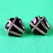 Sterling David Yurman Diamond and Onyx Cable Wrap Earrings