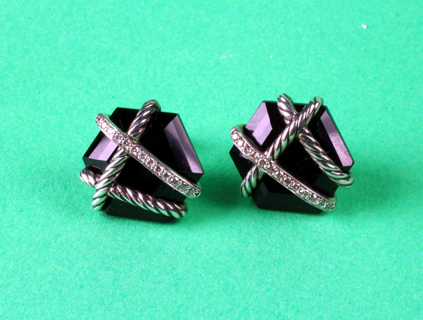 Sterling David Yurman Diamond and Onyx Cable Wrap Earrings