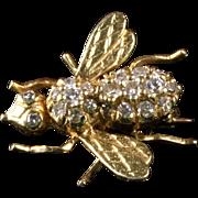 14K Yellow Gold Diamond Bee Pin