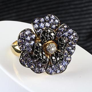 14K Yellow Gold LeVian Tanzanite and Diamond Flower Ring