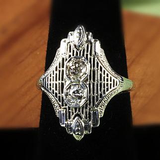 Ladies Vintage 14K Filigree Euro Cut Diamond Ring 0.36 Carats