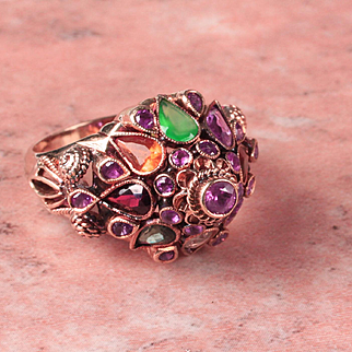 14K Yellow Gold Princess Harem Multi Gemstone Ring