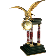 1890's French Ball Clock , Gilt  Bronze Eagle with Baccarat Cut Crystal Columns