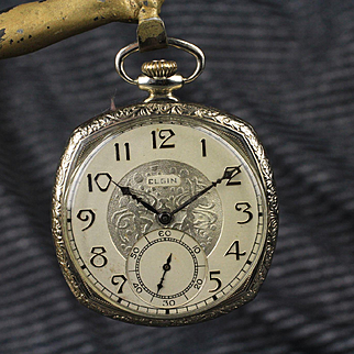 14K White Gold Filled Deco Elgin National Cushion Shaped Pocket Watch