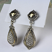 Sterling and 14K Gold Trim Diamond Earrings