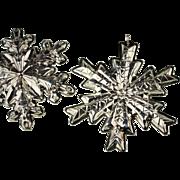 Pair of Gorham Sterling Christmas Snowflake Ornaments 1978