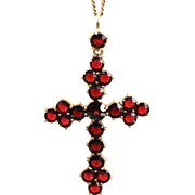 12K Yellow Gold Filled Garnet Cross and Chain