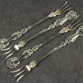 Four Whiting Pompadour Sterling Silver Cocktail / Pickle Forks, Pat.1898