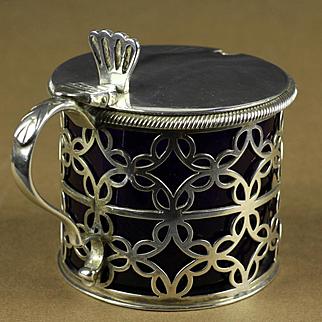 Sterling & Cobalt Glass Tessiers Ltd., London Jam Server Jar