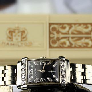"14K HAMILTON ""TOP HAT"" Wrist Watch & Band, Diamond Dial & Case"