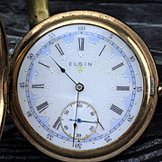 Antique Elgin 16 Size, 17 Jewel, Hunting Case Pocket Watch with Rare Multicolored Dial