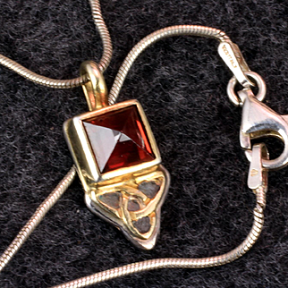 Sterling Silver & 14K Garnet Pendant with Sterling Chain