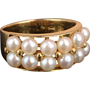 14K Yellow Gold Pearl Ring with 12 Double Row 3.7 mm Pearls
