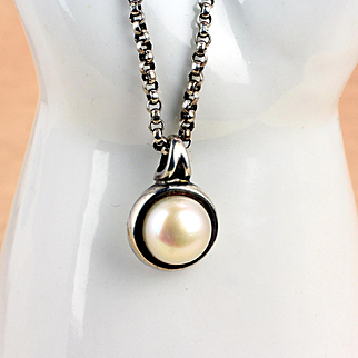 Sterling Silver Pearl Pendant and Chain