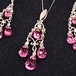 10K White Gold Chandelier Pink Topaz Earrings and Matching Pendant with Diamonds