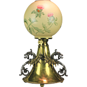 Brass B & H Style Antique Kerosene Lamp with Dragons and Handel Globe